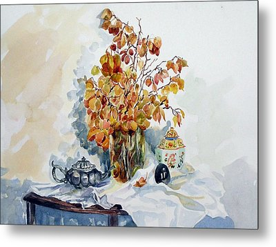 Metal Print featuring the painting Autumn Still Life by Pat Crowther