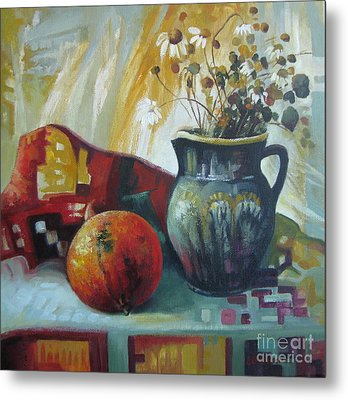 Metal Print featuring the painting Autumn Story by Elena Oleniuc