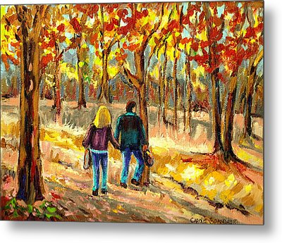 Autumn  Stroll On Mount Royal Metal Print by Carole Spandau