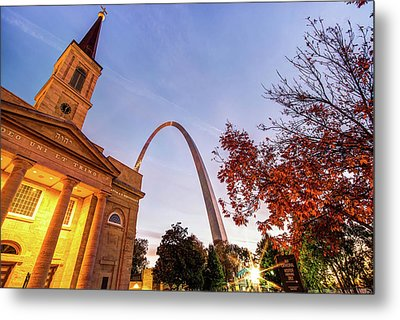 Autumn Sunrise - Downtown Saint Louis Gateway Arch And Old Cathedral Metal Print by Gregory Ballos