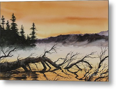 Metal Print featuring the painting Autumn Sunset Mist by James Williamson