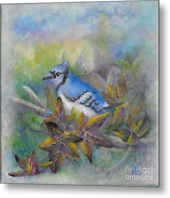 Autumn Sweet Gum With Blue Jay Metal Print by Sheri Hubbard
