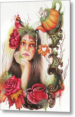 Metal Print featuring the drawing Autumn Tea  by Sheena Pike