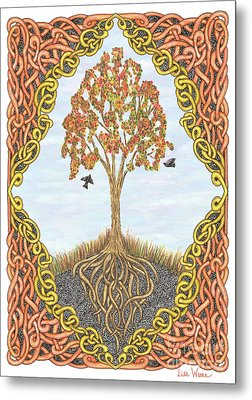 Autumn Tree With Knotted Roots And Knotted Border Metal Print by Lise Winne