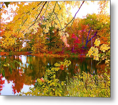 Autumn Trees Reflected In Water 2 Metal Print
