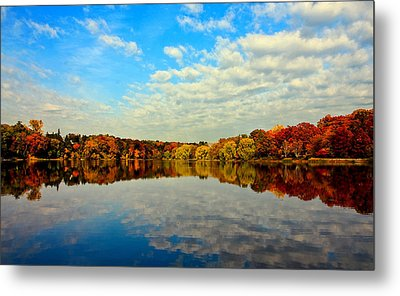 Autumn Trees Reflection Metal Print by This image is Copy