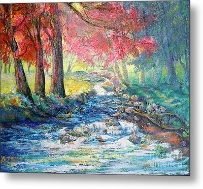 Metal Print featuring the painting Autumn View Of Bubbling Creek by Lee Nixon