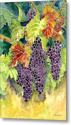 Autumn Vineyard In Its Glory - Batik Style Metal Print by Audrey Jeanne Roberts