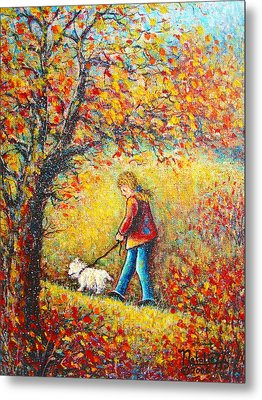 Metal Print featuring the painting Autumn Walk  by Natalie Holland