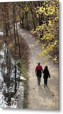 Autumn Walk On The C And O Canal Towpath With Oil Painting Effect Metal Print by William Kuta