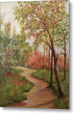 Metal Print featuring the painting Autumn Walk by Roseann Gilmore