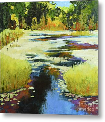 Autumn Water Garden Metal Print by Melody Cleary