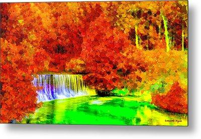 Autumn Waterfall - Da Metal Print