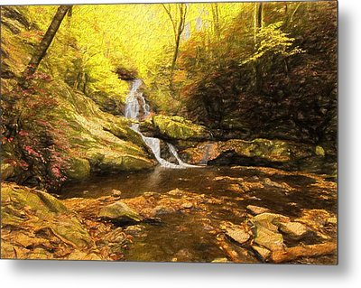 Autumn Waterfall In The Smokies Metal Print