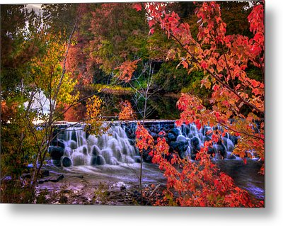 Autumn Waterfall - New England Fall Foliage Metal Print by Joann Vitali