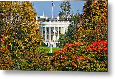 Metal Print featuring the photograph Autumn White House by Mitch Cat