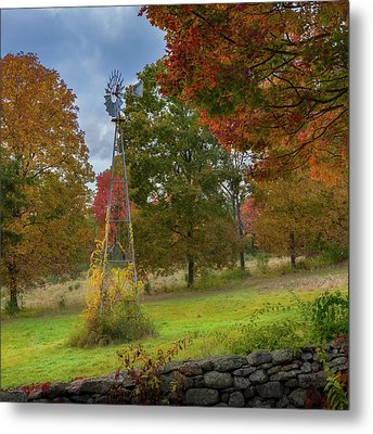 Metal Print featuring the photograph Autumn Windmill Square by Bill Wakeley
