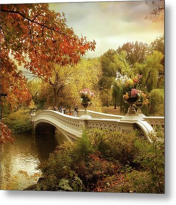 Autumn's Arrival At Bow Bridge Metal Print by Jessica Jenney