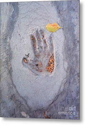 Autumns Child Or Hand In Concrete Metal Print