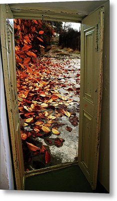 Autumn's Door Metal Print by Nahid Nobari