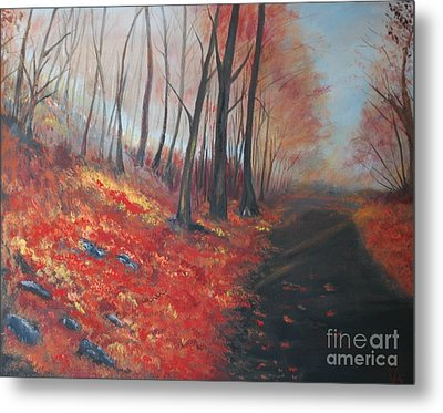 Metal Print featuring the painting Autumns Pathway by Leslie Allen