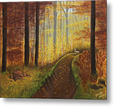 Autumn's Wooded Riverbed Metal Print by Christie Nicklay