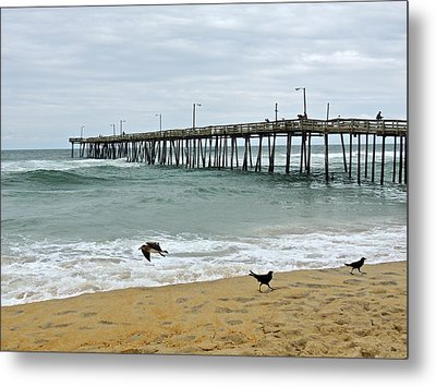 Avalon Fishing Pier Metal Print by Eve Spring