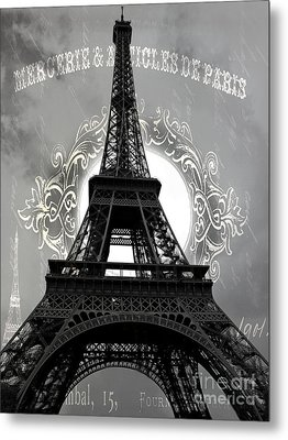 Avant Garde Eiffel Tower Black And White Decor - Paris Black White Eiffel Tower French Script  Metal Print by Kathy Fornal