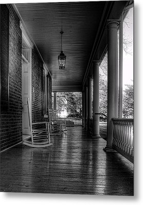 Avenel Front Porch - Bw Metal Print by Steve Hurt
