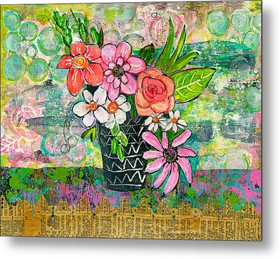 Avery Daisy Flower Metal Print by Blenda Studio