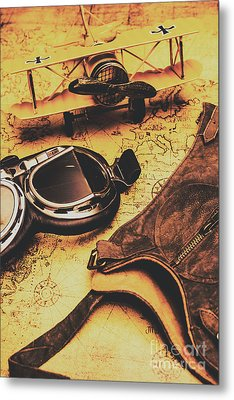Aviator Goggles Cap And Airplane On Old World Map Metal Print by Jorgo Photography - Wall Art Gallery