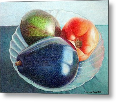 Avocados And A Tomato Metal Print by Bonnie Haversat