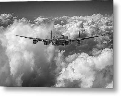 Metal Print featuring the photograph Avro Lancaster Above Clouds Bw Version by Gary Eason