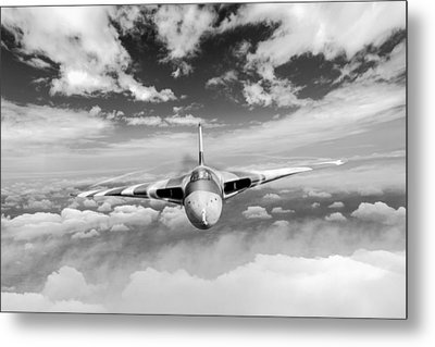 Metal Print featuring the digital art Avro Vulcan Head On Above Clouds by Gary Eason
