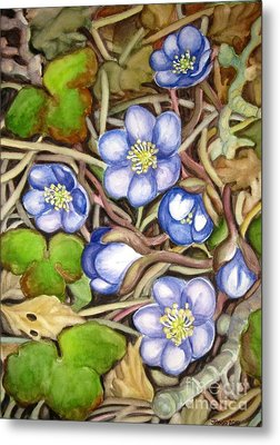 Metal Print featuring the painting Awakening Of The Wild Anemone  by Inese Poga