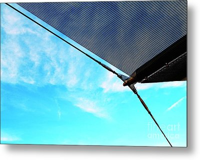 Awning Above A Wharf In Marseille Metal Print by Sami Sarkis
