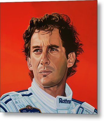 Ayrton Senna Portrait Painting Metal Print by Paul Meijering