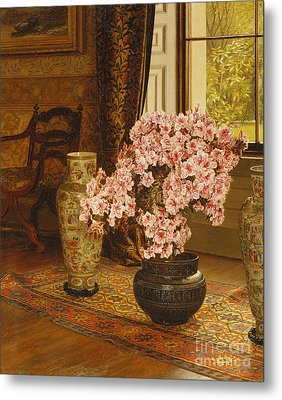 Azalea In A Japanese Bowl, With Chinese Vases On An Oriental Rug Metal Print