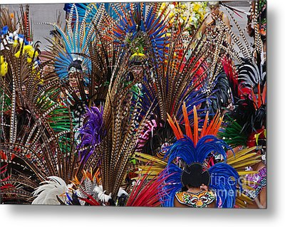 Metal Print featuring the photograph Aztec Feather Dancers - Mexico by Craig Lovell