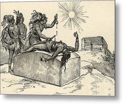 Aztec Priest Performing Sacrifice Metal Print