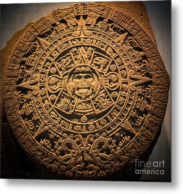 Aztec Stone Of The Sun  Metal Print by Inge Johnsson