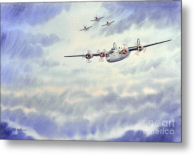 Metal Print featuring the painting B-24 Liberator Aircraft Painting by Bill Holkham