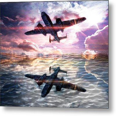 Airplane Metal Print featuring the digital art B-25b Usaaf by Aaron Berg