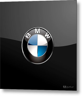 B M W  3 D Badge On Black Metal Print by Serge Averbukh