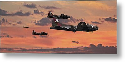 Metal Print featuring the digital art B17 - Sunset Home by Pat Speirs
