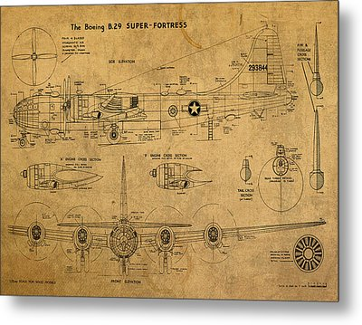B29 Superfortress Military Plane World War Two Schematic Patent Drawing On Worn Distressed Canvas Metal Print by Design Turnpike