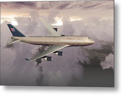 Metal Print featuring the digital art B747-400  by Mike Ray