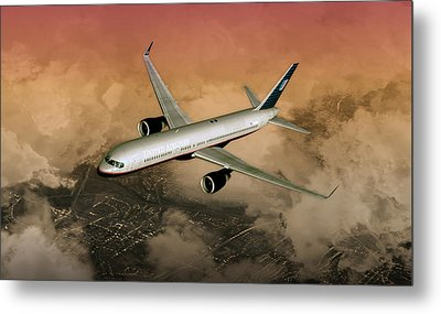 Metal Print featuring the digital art B757 Dawn Approach by Mike Ray