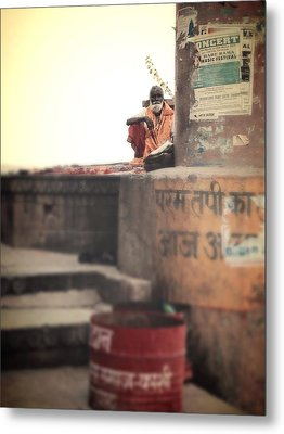 Baba At The Ghats Metal Print