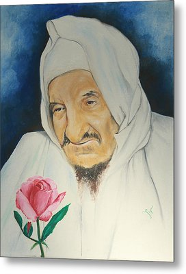 Baba Sali With Rose Metal Print by Miriam Leah